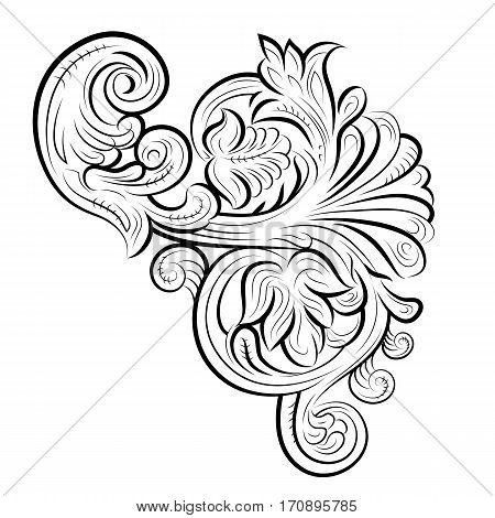 Drawing pattern with leaves Vladimir Russia. Vector illustration