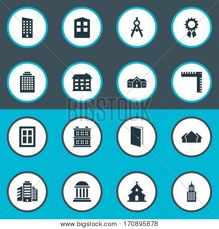 Set Of 16 Simple Architecture Icons. Can Be Found Such Elements As Construction, Popish, Engineer Tool And Other.