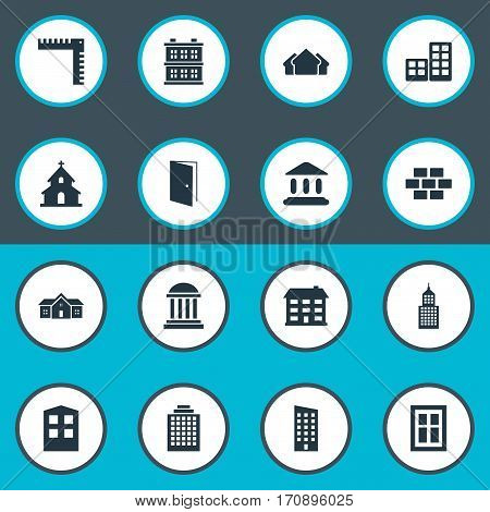 Set Of 16 Simple Architecture Icons. Can Be Found Such Elements As Floor, Shelter, Popish And Other.