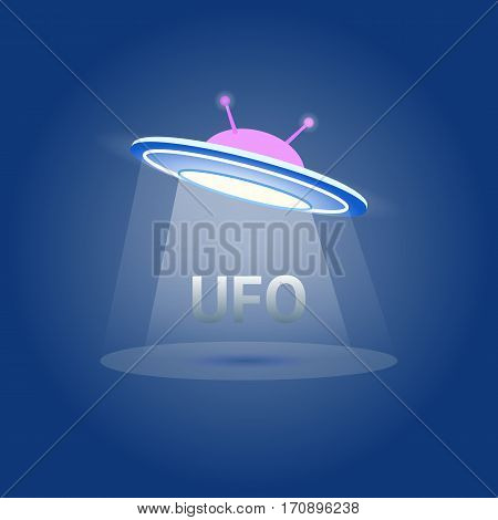 UFO Flying Saucer Icon isolated. Ufo logo element. Ufo Vector illustration on white background. Cartoon style. liens icon.