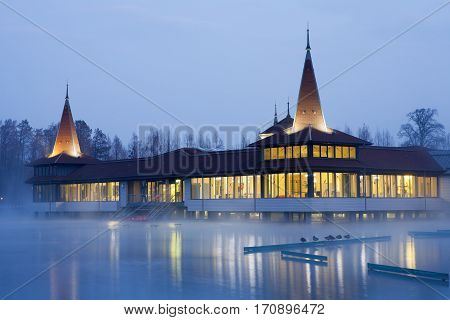 Heviz lake at night in Hungary at winter - The 2nd largest natural thermal lake in the world