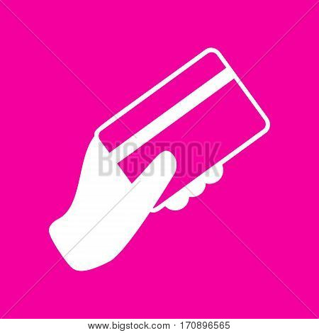 Hand holding a credit card. White icon at magenta background.