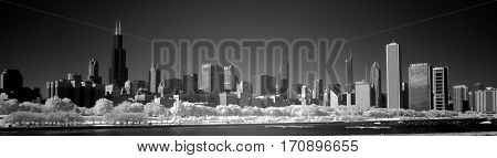 Chicago Skyline cityscape panoramic infrared black and white