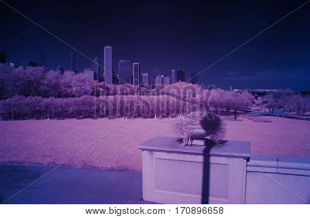Infrared photography Chicago skyline looking north from museum campus color swap