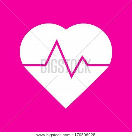 Heartbeat sign illustration. White icon at magenta background.