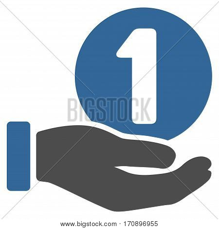 One Coin Payment Hand vector pictogram. Illustration style is a flat iconic bicolor cobalt and gray symbol on white background.