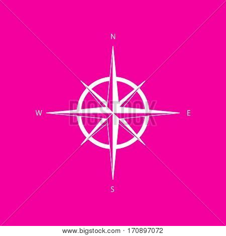 Wind rose sign. White icon at magenta background.