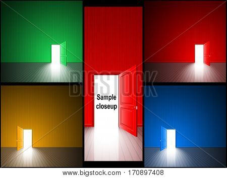 Open door with light; The concept of choice variant, finding solutions, successful goal, fateful chance; Set of vector background with copy space on wall; Eps10