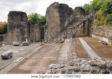 Detail ruins amphitheater of Lyon in France