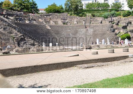 Overall View Of The Steps Amphitheater Of Lyon France