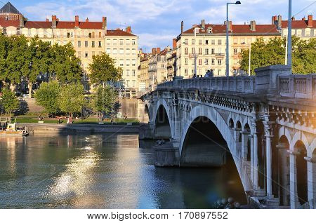 View Bridge Wilson In Summer On River Rhone Lyon France