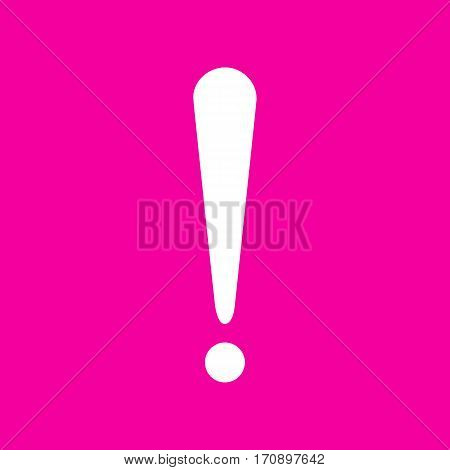 Attention sign illustration. White icon at magenta background.