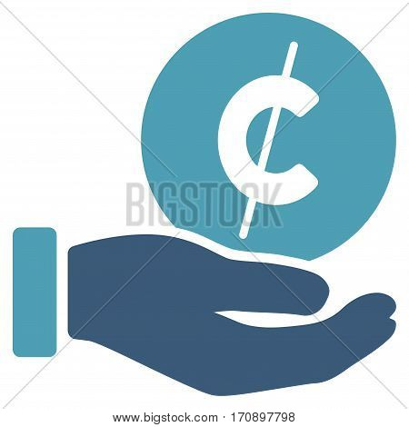 Cent Payment Hand vector pictogram. Illustration style is a flat iconic bicolor cyan and blue symbol on white background.