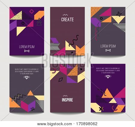 Vector Trendy Brochure Templates With Chaotic Flat Geometry In Memphis Style. Modern Minimalistic De