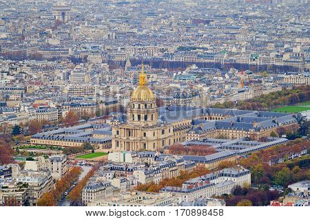 Bird's eye view on the National Residence of the Invalids (Les Invalides) - the military museum and the place where are the tombs of Napoleon and his son are located Paris France