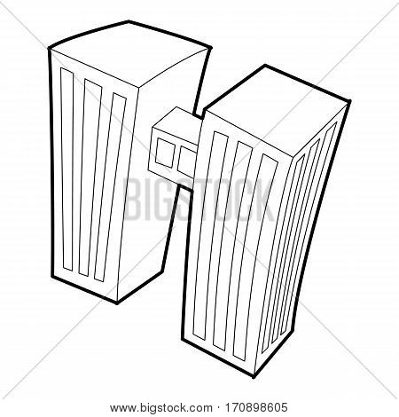 Double building icon. Outline illustration of double building vector icon for web