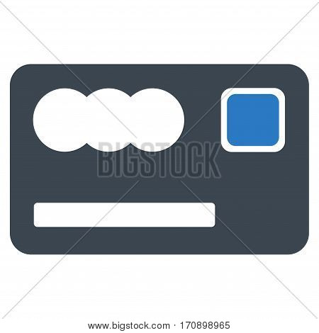 Banking Card vector pictogram. Illustration style is a flat iconic bicolor smooth blue symbol on white background.