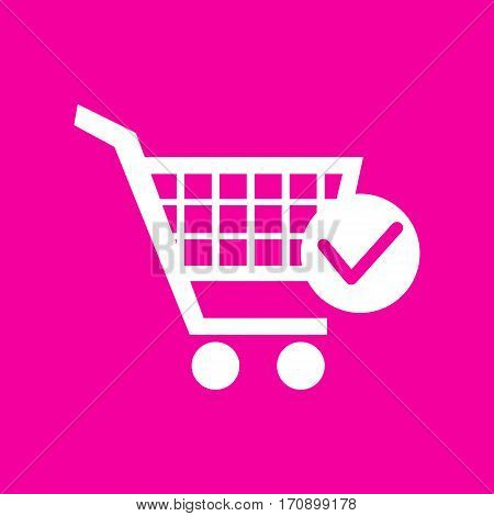 Shopping Cart with Check Mark sign. White icon at magenta background.