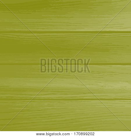 Green wooden background. Natural wooden texture with horizontal planks. Vector boards.