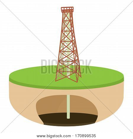 Oil derrick icon. Cartoon illustration of oil derrick vector icon for web