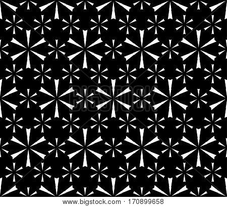 Vector seamless pattern. Modern subtle black & white texture. Simple geometric floral figures, snowflakes. Endless repeat dark minimalist abstract monochrome background. Design for decor, prints, textile, digital, web
