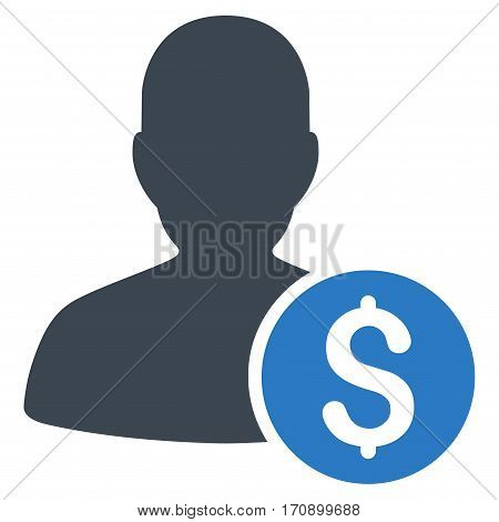 Investor vector pictograph. Illustration style is a flat iconic bicolor smooth blue symbol on white background.