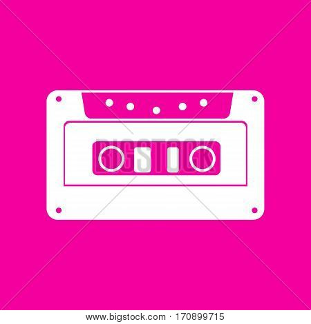 Cassette icon, audio tape sign. White icon at magenta background.