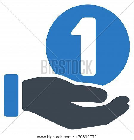 One Coin Payment Hand vector pictogram. Illustration style is a flat iconic bicolor smooth blue symbol on white background.