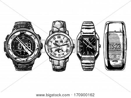Vector hand drown illustration set of men wristwatches. Digital watch with compass moon phase watches rectangular wristwatch with black dial and smartwatch.