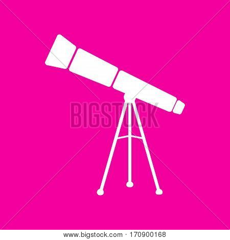 Telescope simple sign. White icon at magenta background.