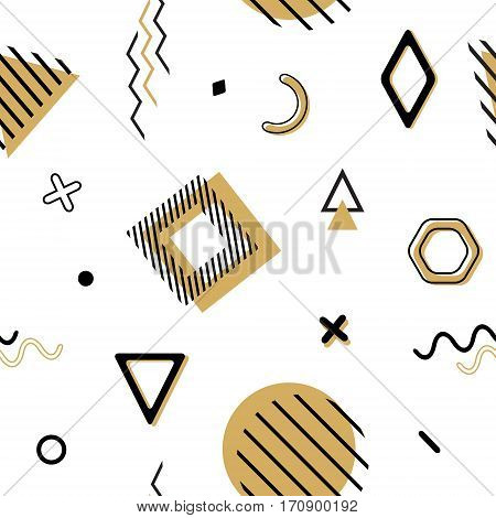 Vector Seamless Memphis Pattern With Geometric Elements In Black And Gold. Chaotic Trendy Geometry I