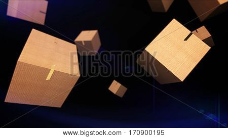 Falling Cardboard Boxes