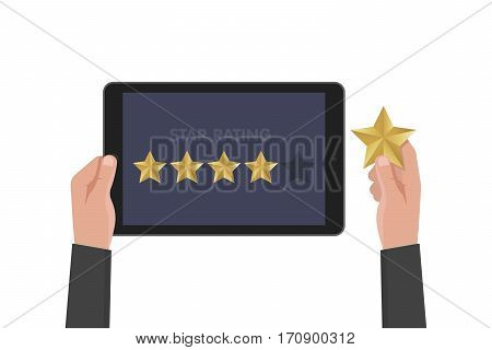 Hand Holding And Pointing To A Tablet With Five Star On The Screen. Rating And Review Concept. Vecto