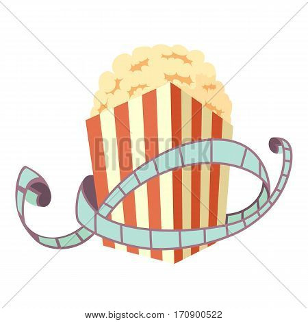 Film and popcorn icon. Cartoon illustration of film and popcorn vector icon for web