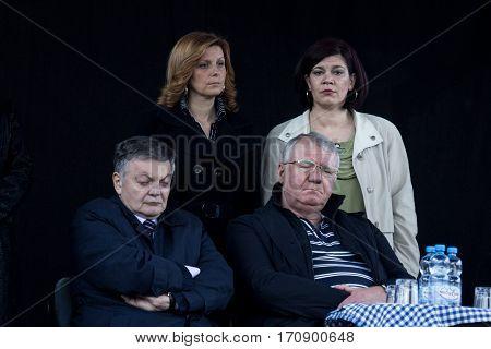 VRSAC SERBIA - APRIl 10 2016: Vojislav Seselj leader of the Serbian Radial Party (SRS) sleeping during one of his meeting next to one of his associates Milovan Bojic also sleeping