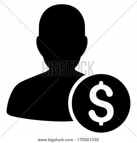 Investor vector pictogram. Illustration style is a flat iconic black symbol on white background.