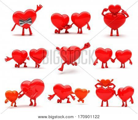 Lovable heart mascots presenting love, emotions, romance, family happiness and health. Ideal for advertisement or as a part of a logo. Isolated on white.