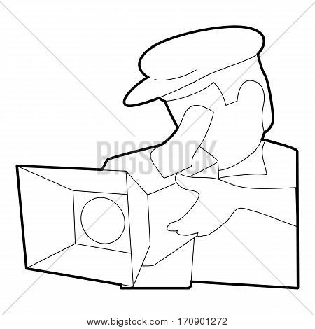 Film director icon. Outline illustration of film director vector icon for web