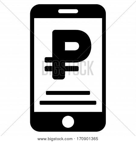 Rouble Mobile Payment vector pictogram. Illustration style is a flat iconic black symbol on white background.