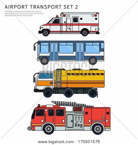 Thin line flat design of airport transport. Types of transport plying on the airfield while working. Ambulance, fire engine and passengers bus isolated on white background