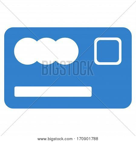 Banking Card vector pictograph. Illustration style is a flat iconic cobalt symbol on white background.