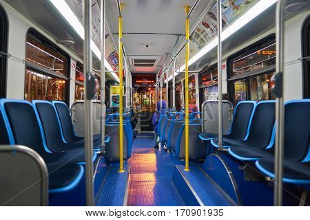 CHICAGO, IL - CIRCA MARCH, 2016: inside a bus in Chicago. Chicago is the third most populous city in the United States.