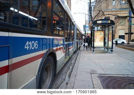 CHICAGO, IL - CIRCA APRIL, 2016: a bus in Chicago. Chicago is the third most populous city in the United States.