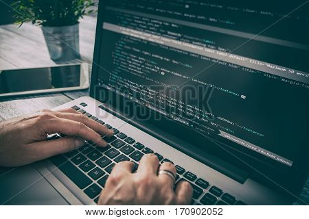 coding code program programming compute coder work write software hacker develop man concept - stock image