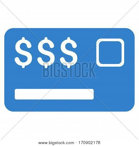 Credit Card vector icon. Illustration style is a flat iconic cobalt symbol on white background.