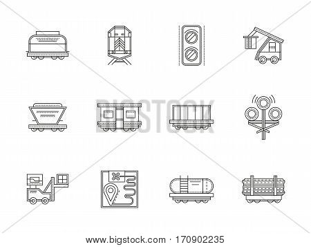 Railroad traffic elements, trains and rail cars. Transportation industry, carriage of goods, wagons for different freights. Set of black flat line design vector icons.