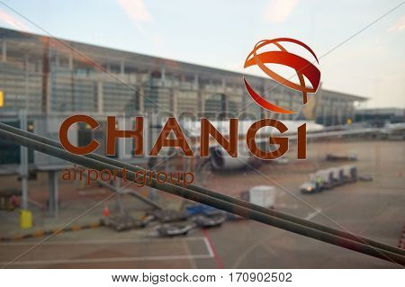 SINGAPORE - CIRCA NOVEMBER, 2015: close up shot of Changi Airport sign. Changi Airport, is the primary civilian airport for Singapore, and one of the largest transportation hubs in Southeast Asia.