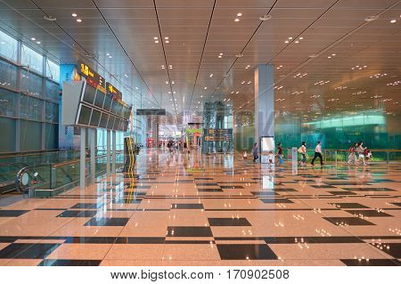 SINGAPORE - CIRCA NOVEMBER, 2015: inside Singapore Changi Airport. Changi Airport, is the primary civilian airport for Singapore, and one of the largest transportation hubs in Southeast Asia.