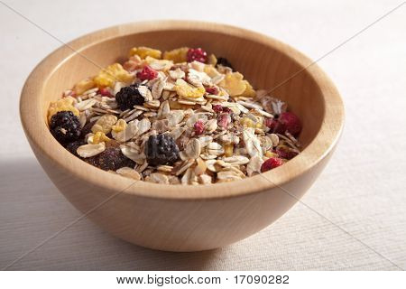 cereal in wooden bowl