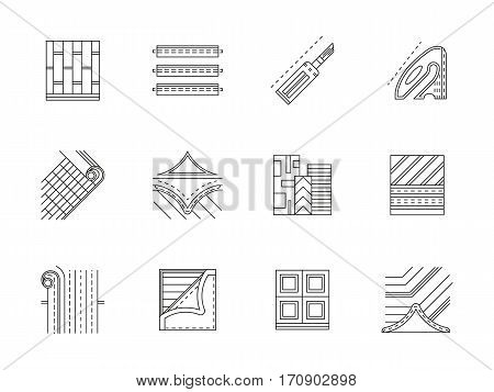 Elements of flooring services. Linoleum floor covering for office, home. Construction tools and materials. Set of black flat line design vector icons.